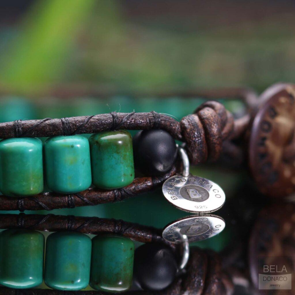 Armband Bohemian green B6 - Groen - Turquoise - Sterling zilver - Leer-6